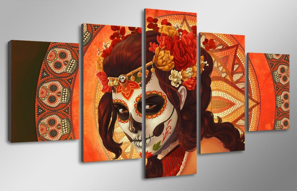 HD Printed Day of The Dead Face Group Painting Room Decor Print Poster Picture Canvas Home Decoration Wall Art F-979