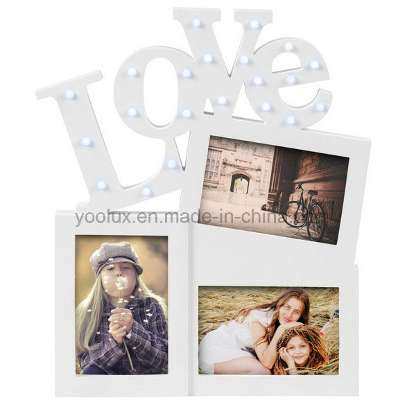 LED Plastic Multi Openning Promotion Decoration Gift Love Collage Photo Frame
