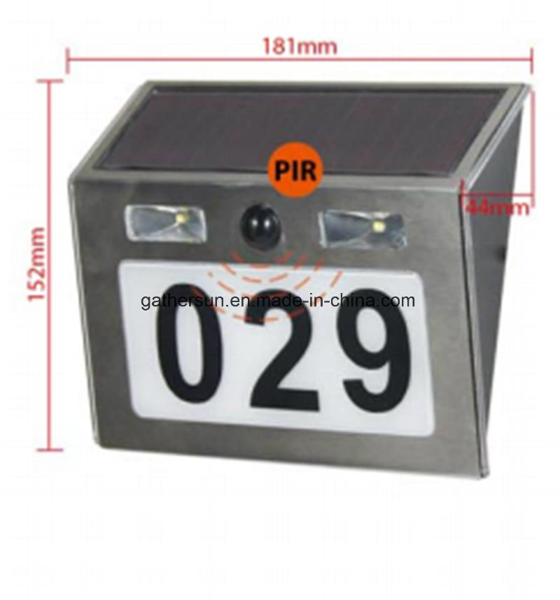 Solar Doorplate Light Outdoor Stainless Steel Apartment House Number Light-Operated Lamp with PIR Sensor Light