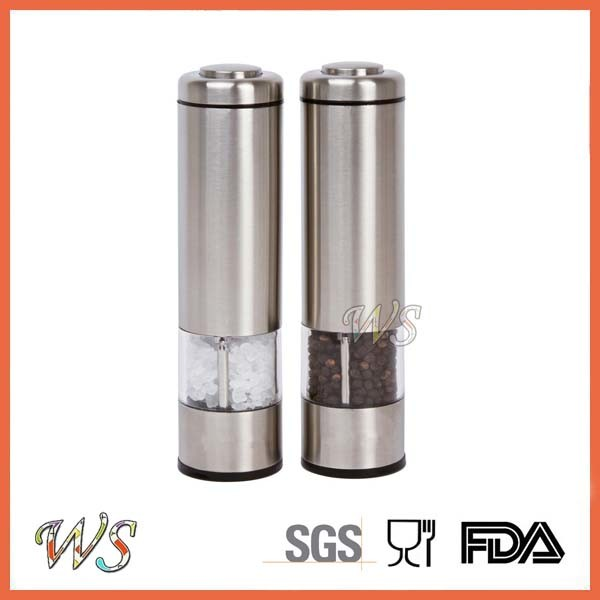 Ws-Pgs003 Adjustable Electric Stainless Steel Salt and Pepper Mill Set Spice Grinder
