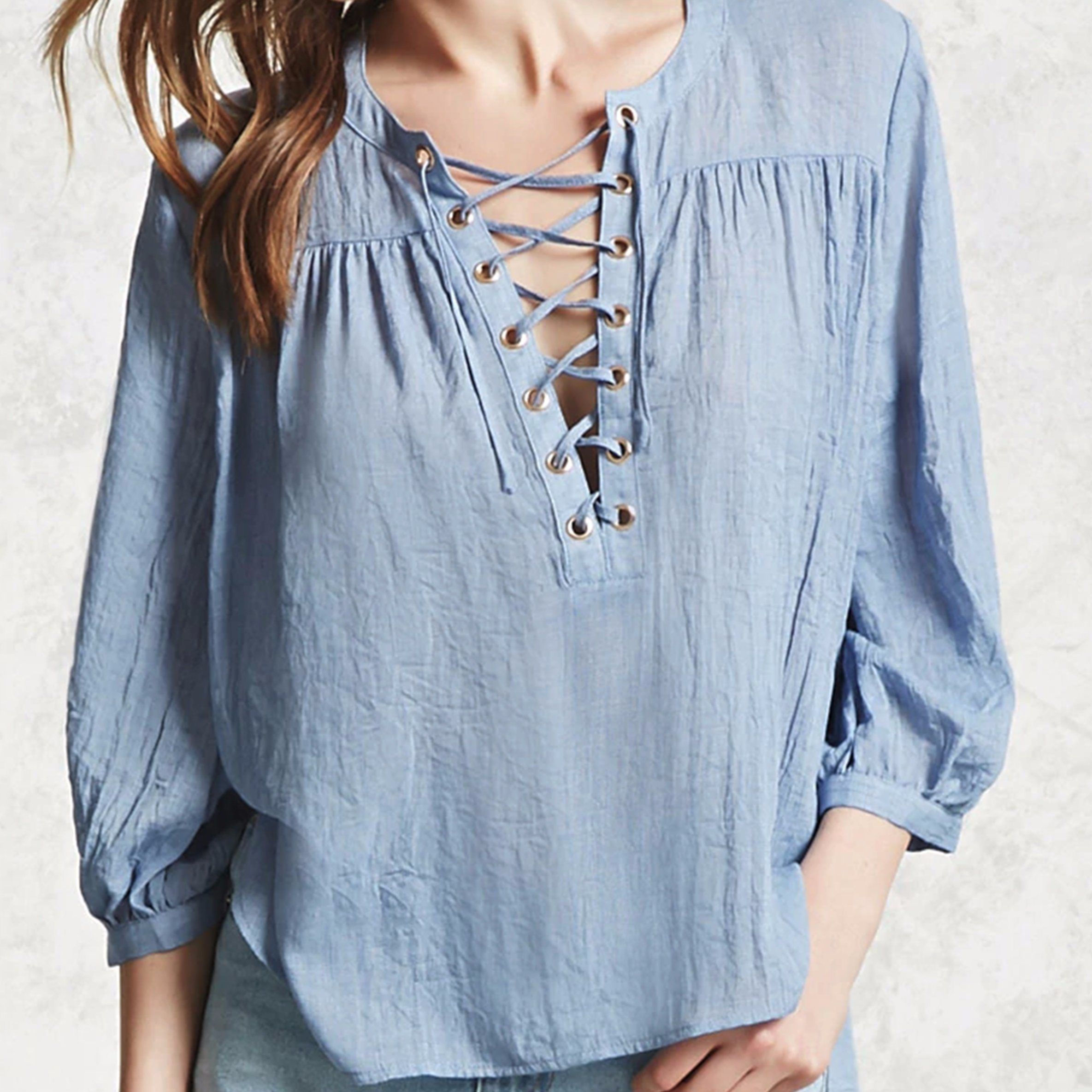 Ladies Fashion Chiffon V-Neck Bandage Blouse