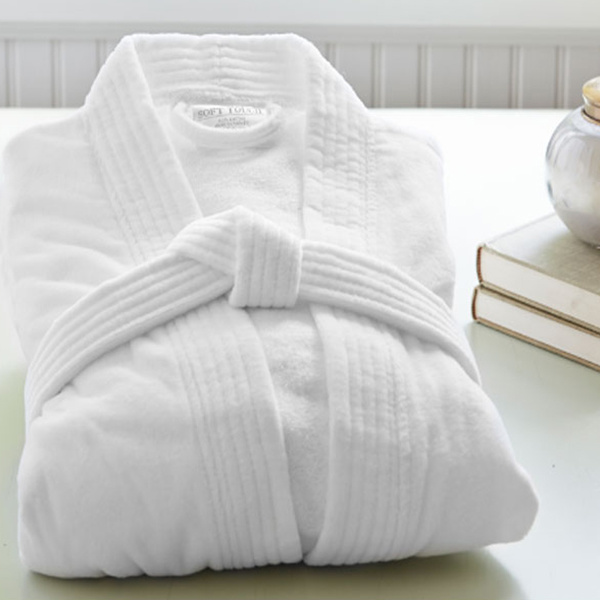 Classic Shawl Collar Cotton White Bath Robes Terry/Velour Hotel Bathrobe