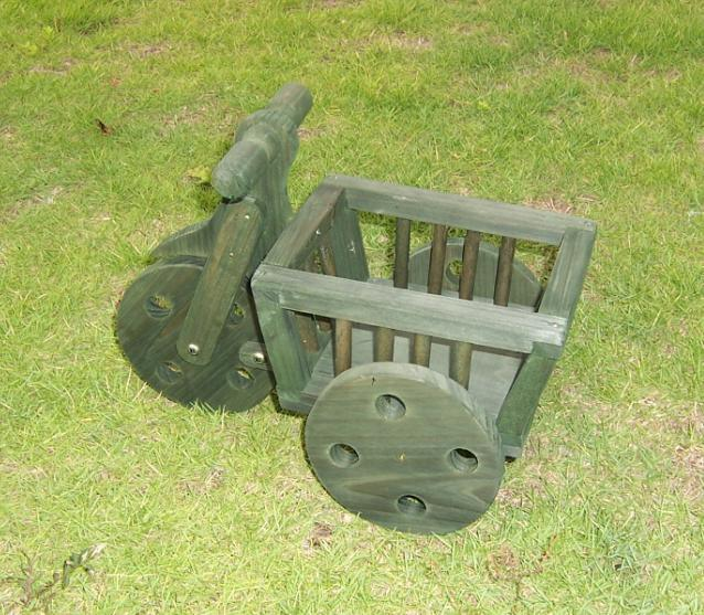 Eco Friendly Green Wooden Gardening Cart Flower Wheelbarrow