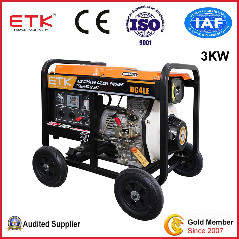 China 3kw Portable Diesel Generator Set with 7HP Diesel Engine