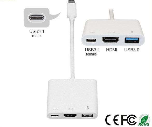 USB 3.1 Type C to Multiport Adapter Cable (HDMI/VGA+USB3.1+USB 3.0)