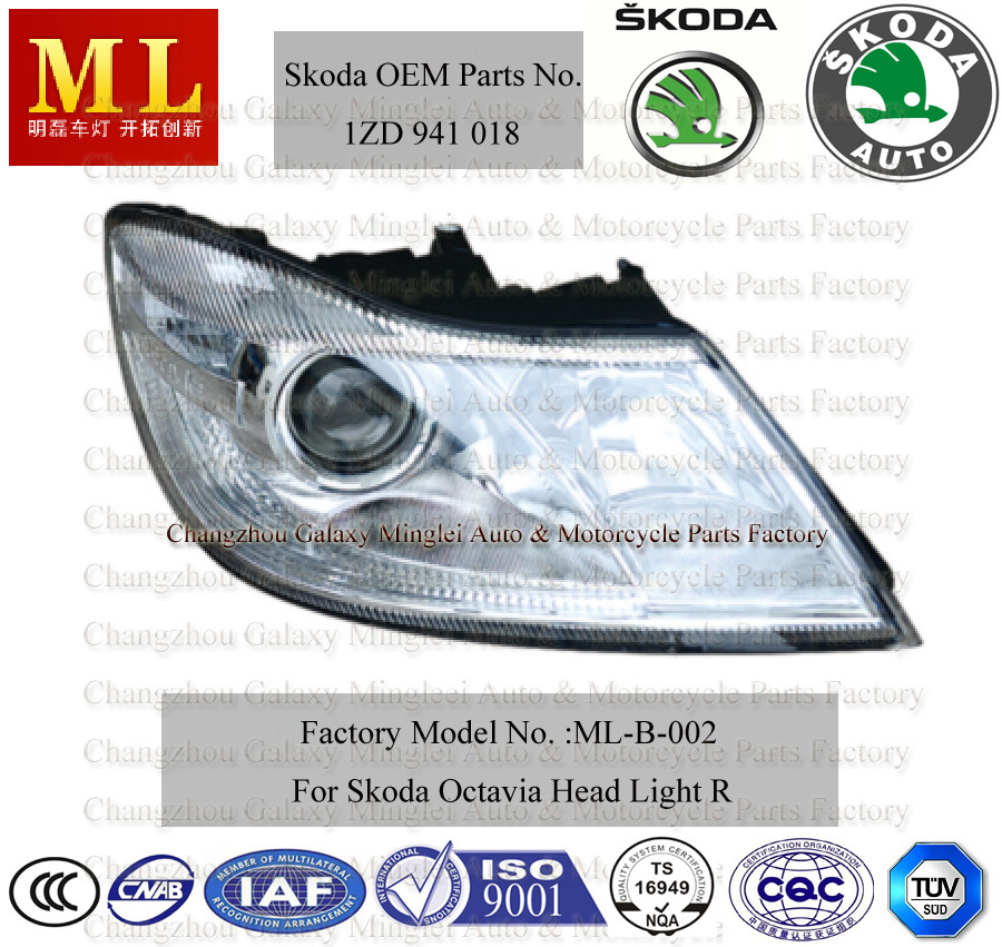 Auto Head Lamp for Skoda Octavia From Year 2008-2ND Generation (OEM Parts No.: 1ZD 941 018)
