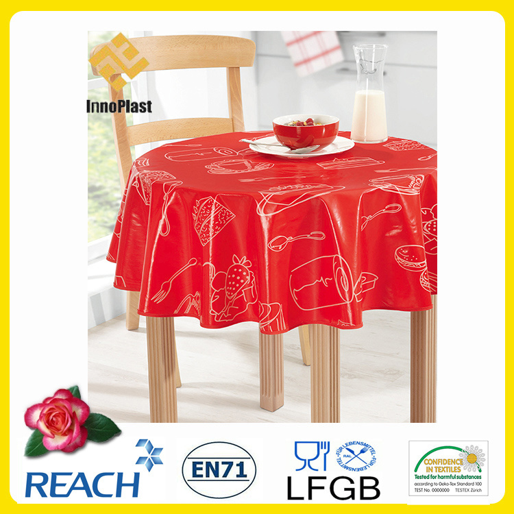 PVC Printed Tablecloth/Oilcloth LFGB Oko-Tex Wholesale China Factory