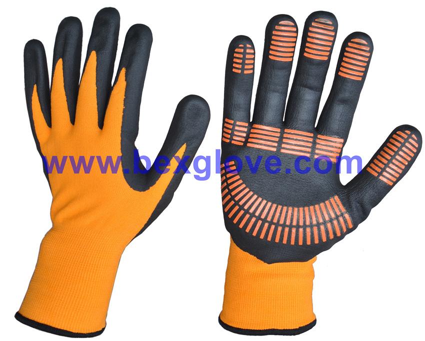 15gauge Nylon/Spandex Liner, Nitrile Coating, Micro-Foam, Color Dots Work Glove
