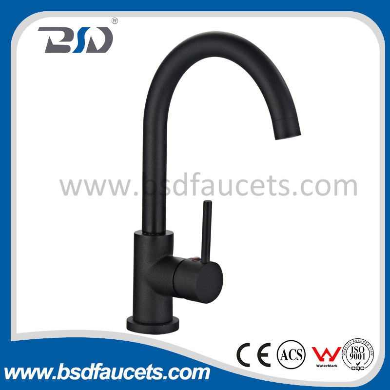 Black Painted Single Handle Kitchen Sink Mixer Faucet Watermark Approved