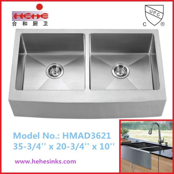 50/50 Apron Front Handmade Sink, Farmhouse Sink, Handcraft Sink (HMAD3621)