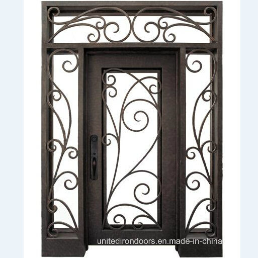 Straight Top Wrought Iron Single Door with Sidelight (UID-S002)