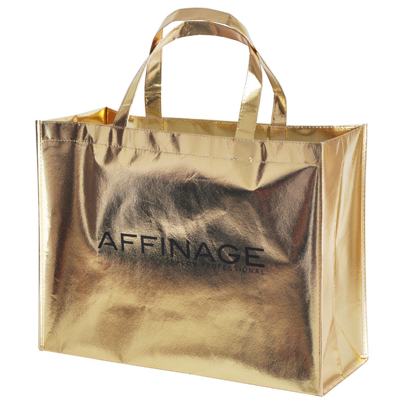 China Gold Metallic Non-Woven Reusable Tote Shopping Bags - China ...