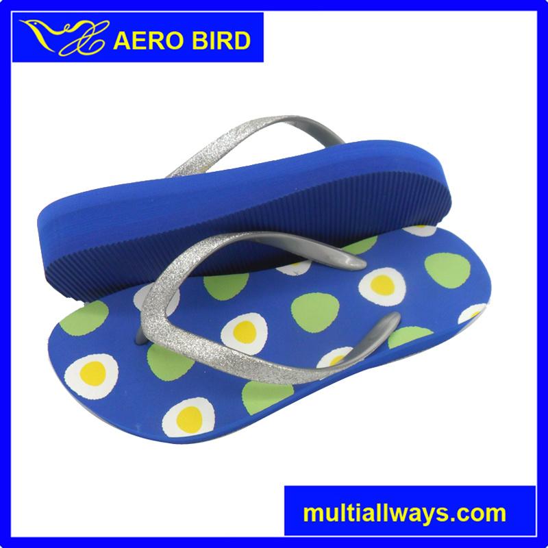 Three Colors Sole EVA High Heel Sandal with Glitter Strap