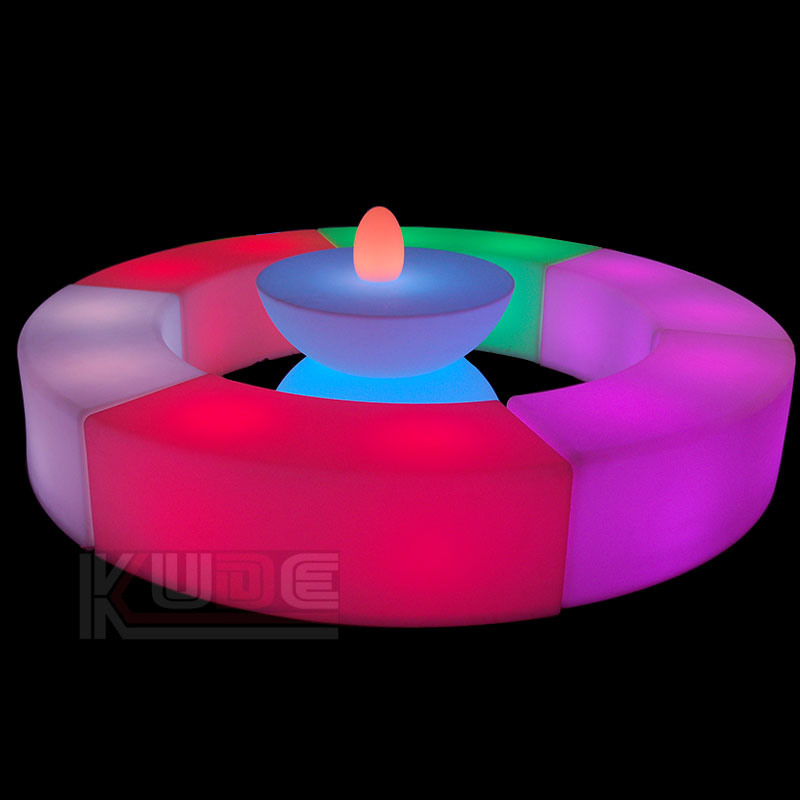 LED Bend Stool Lamp Seat Ottoman and an Table All-in-One