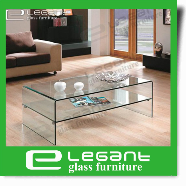 Clear Glass Center Table with Tempered Glass Shelf