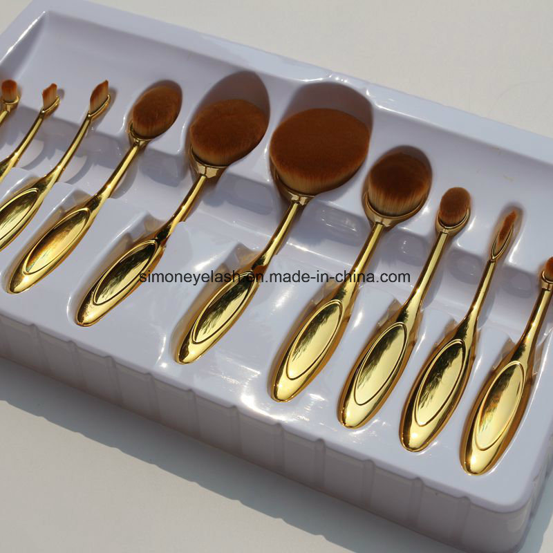 10PCS Oval Makeup Brushes for Professional Makeup Artist