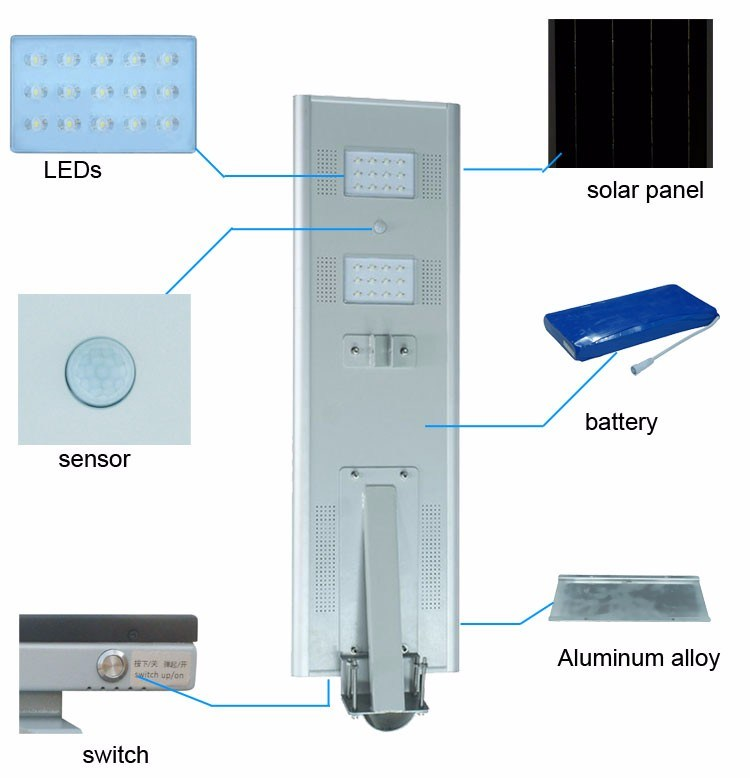 High Power Adjustable 80W Solar LED Street Light