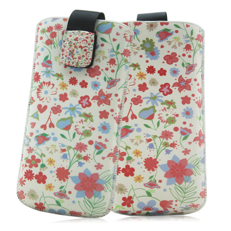 Flower Cell Phone Leather Pouch for iPhone 5 5s Custom Design