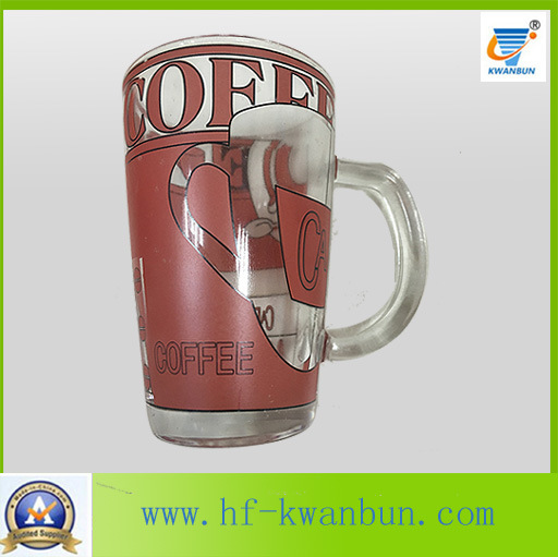 Golden Hot Sale Tea Coffee Glass Mug with Decal Tableware