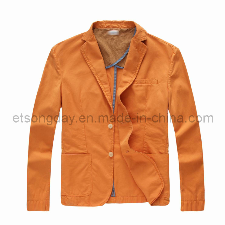 Orange 100% Cotton Men′s Casual Blazer (SKM6020)