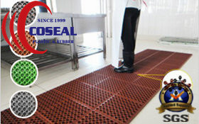 Dog-Bone Drainage Rubber Mat for Kitchens/Food Processing Areas
