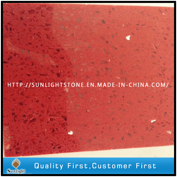 Artificial Red Quartz Stone with Mirror/Glass/Sparkles