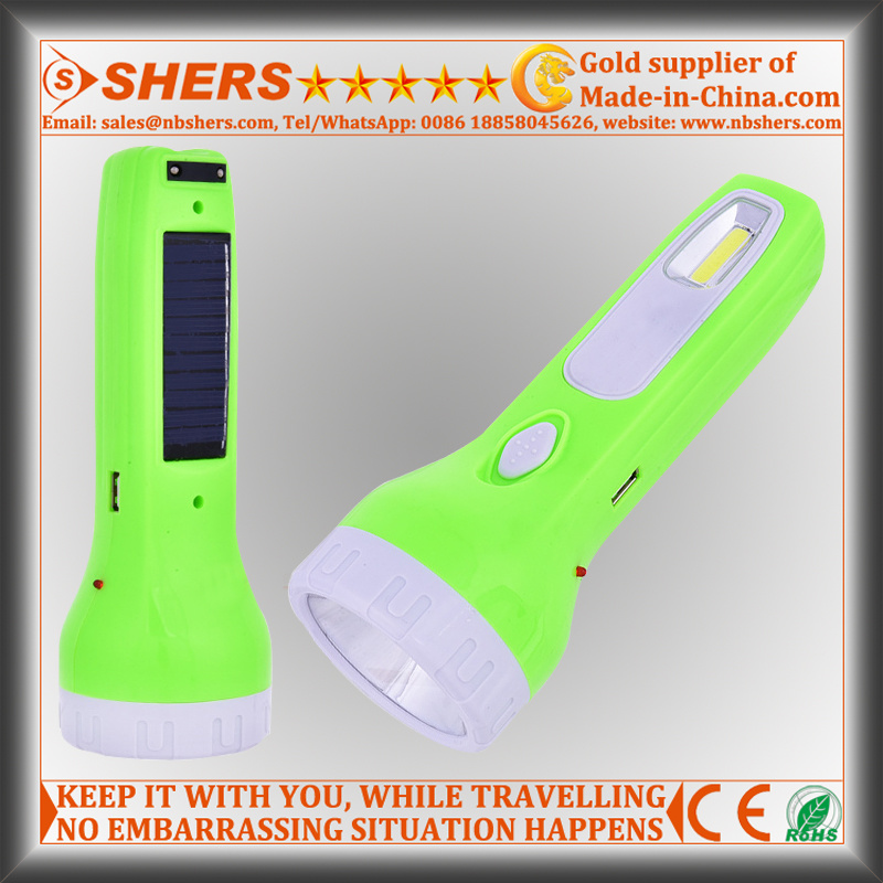 Solar 1W Flashlight for Hunting with Reading Lamp, USB (SH-1929)