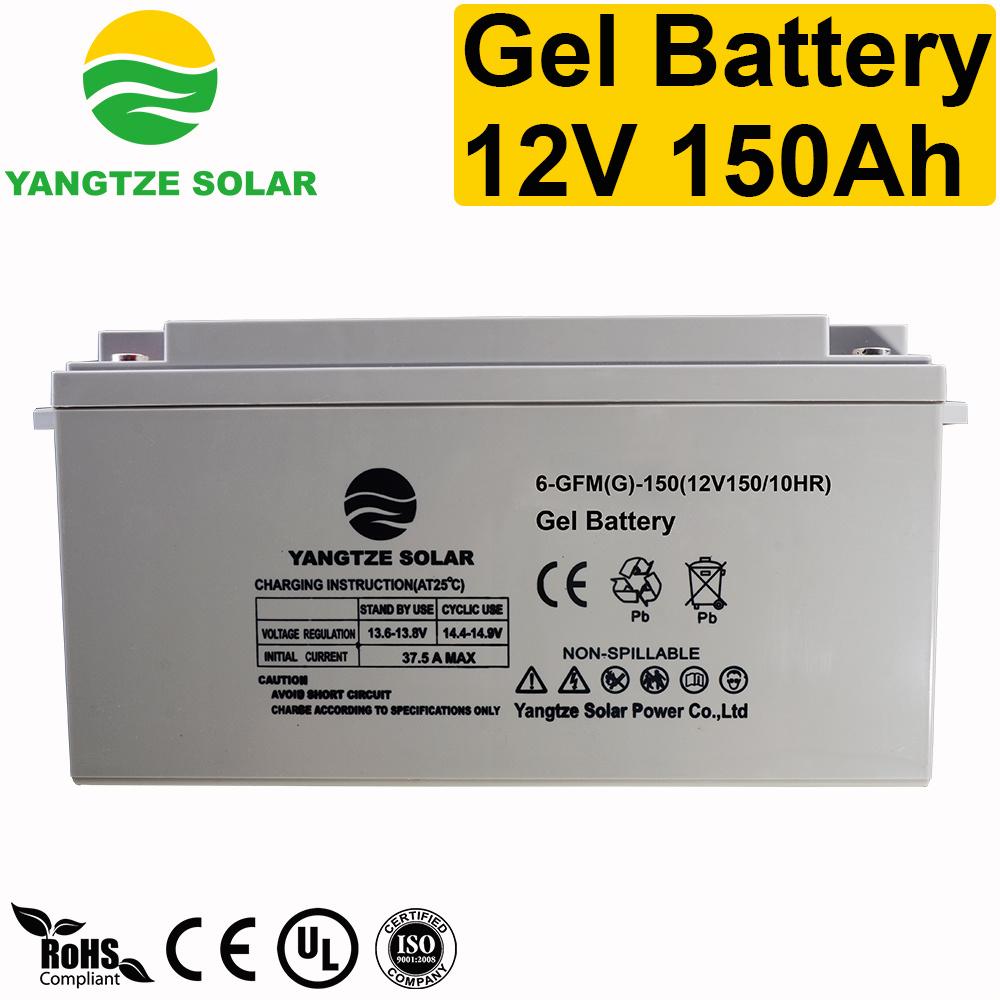 Free Maintenace 12+ Years Working Life 12 Volt 150ah Gel Deep Cycle Battery