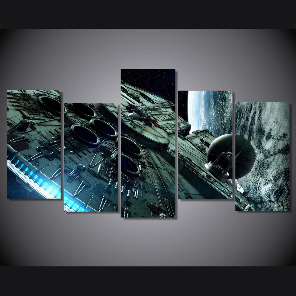 HD Printed Millennium Falcon Star Wars Painting Canvas Print Room Decor Print Poster Picture Canvas Mc-017
