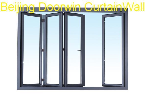 China 4 panels thermal break aluminium bifold glass - Finestre alluminio anodizzato ...