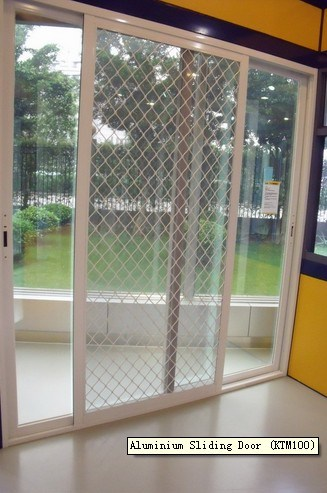 China aluminium sliding door with fly screen ktm100 for Aluminum sliding screen door