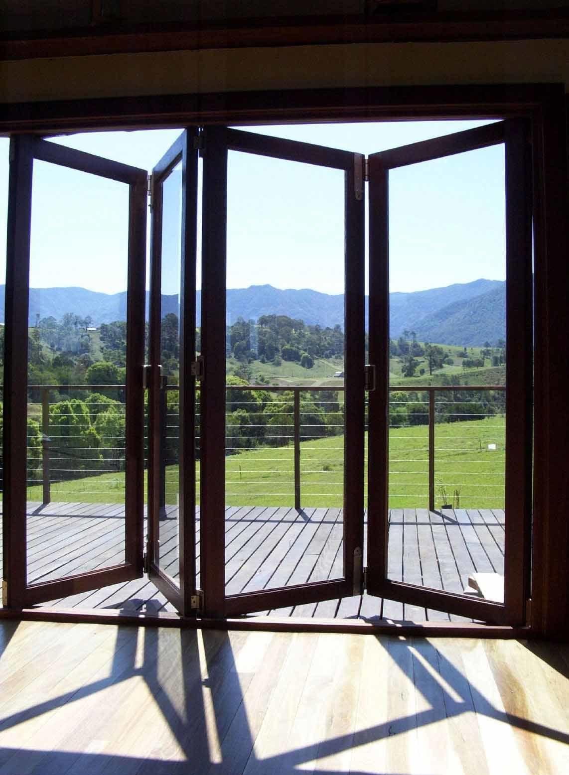 Glass bifold doors - Aluminum Wood Clad Bi Fold Door Aluminum Door With Durable Lifespan Bi