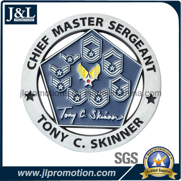Customer Design Bronze Soft Enamel Metal Coin with Cut Outs