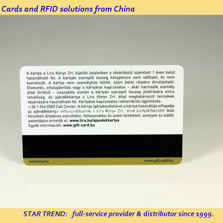 Gold Glitter Printied PVC Magnetic Stripe Card for Gift Card