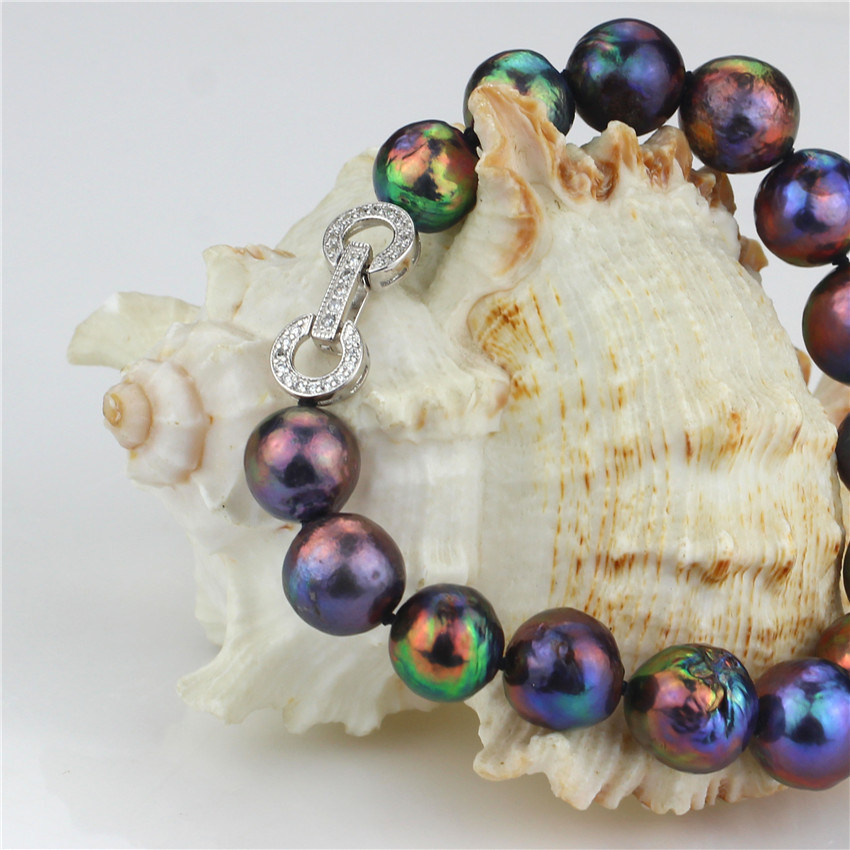 10-12mm AA Round Sterling Silver Natural Freshwater Pearl Bracelet