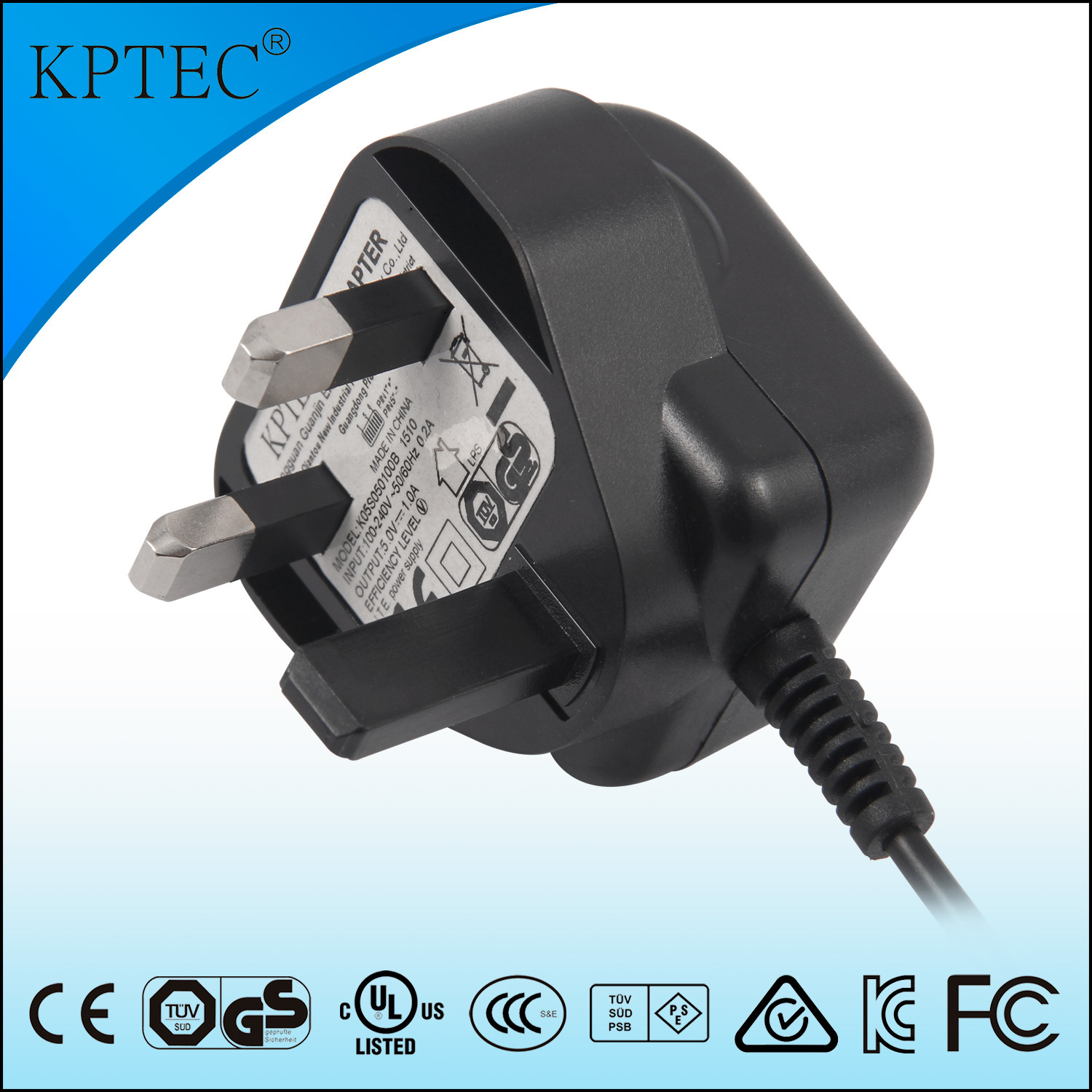 Kptec AC/DC Adapter with Ce Certificate 5V 1A