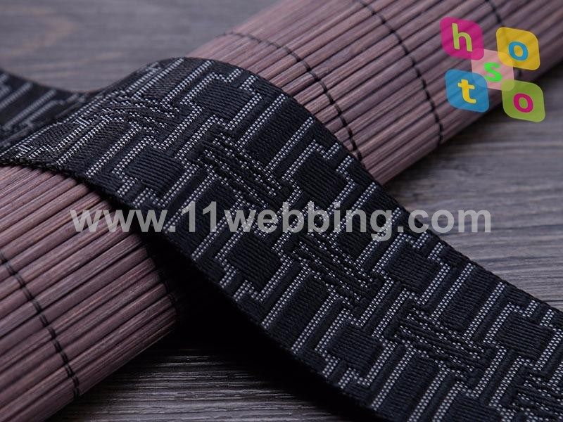 New Design Black and Red Lattice Nylon Jacquard Webbing