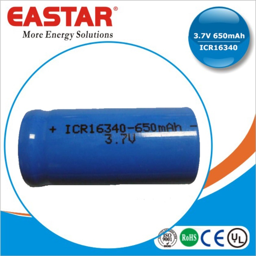 3.7V Icr 16340 Li-ion Rechargeable Battery for Communication Product