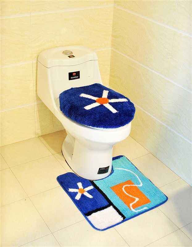 Microfiber or Acrylic Bath Floor Non-Slip Bathroom Toilet Cover Mat
