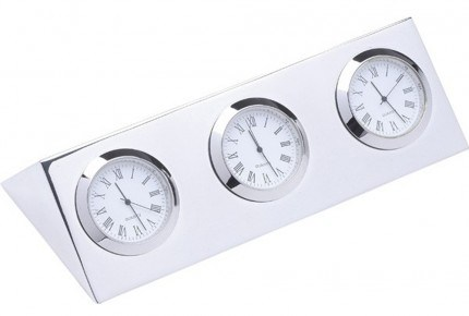 Corporate Gift - Silver Plated 2or 3 Zone Quartz Desk Clock