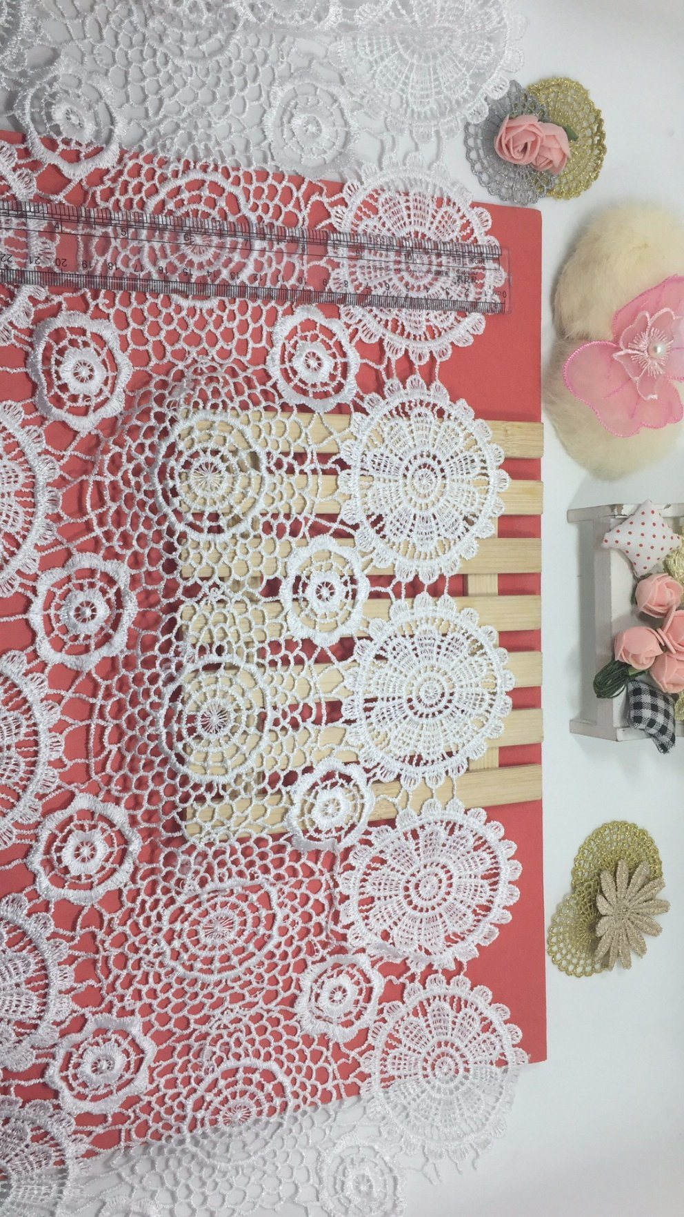 New Design 40cm Width Embroidery Trimming Nylon Polyester Lace for Garments & Home Textiles & Curtain Accessory