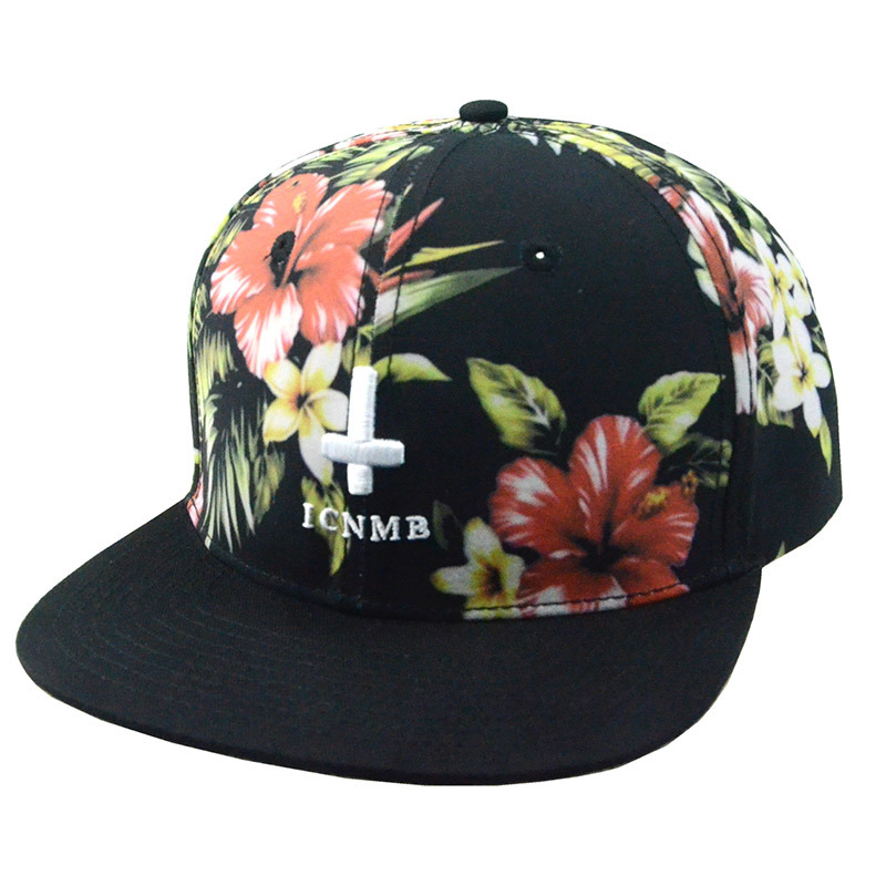 Custom Floral 6 Panels Polyester Snapback Cap