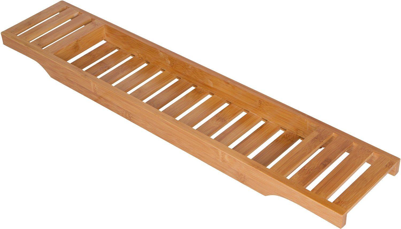 Bamboo Bathtub Shower Caddy with Long Slatted Bathtub Tray