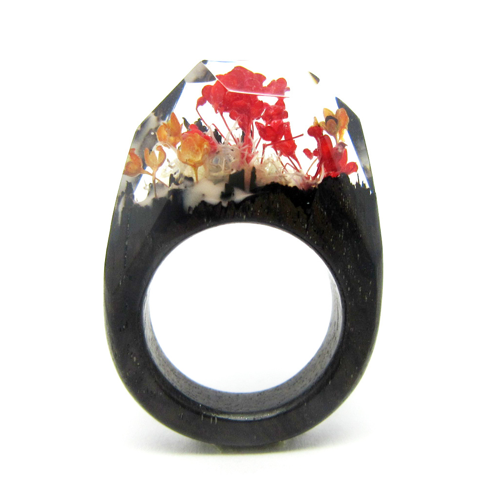 100% Handcrafted Resin Ring, Collect Art Wooden Flower Ring