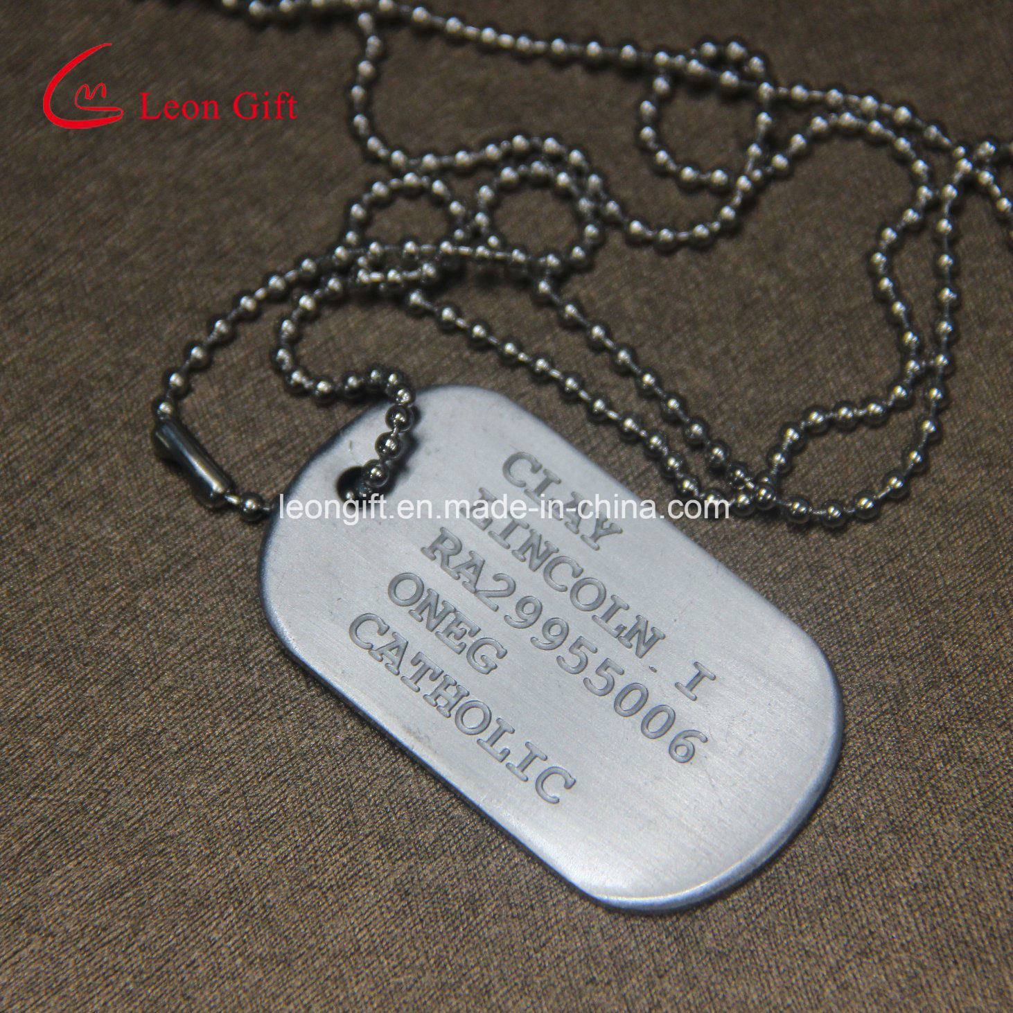 Factory Custom Ball Chain Military Dog Tag