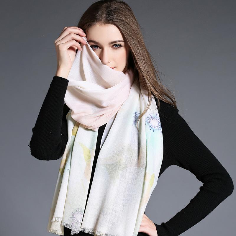 Wool Scarf Light Color Digital Printing