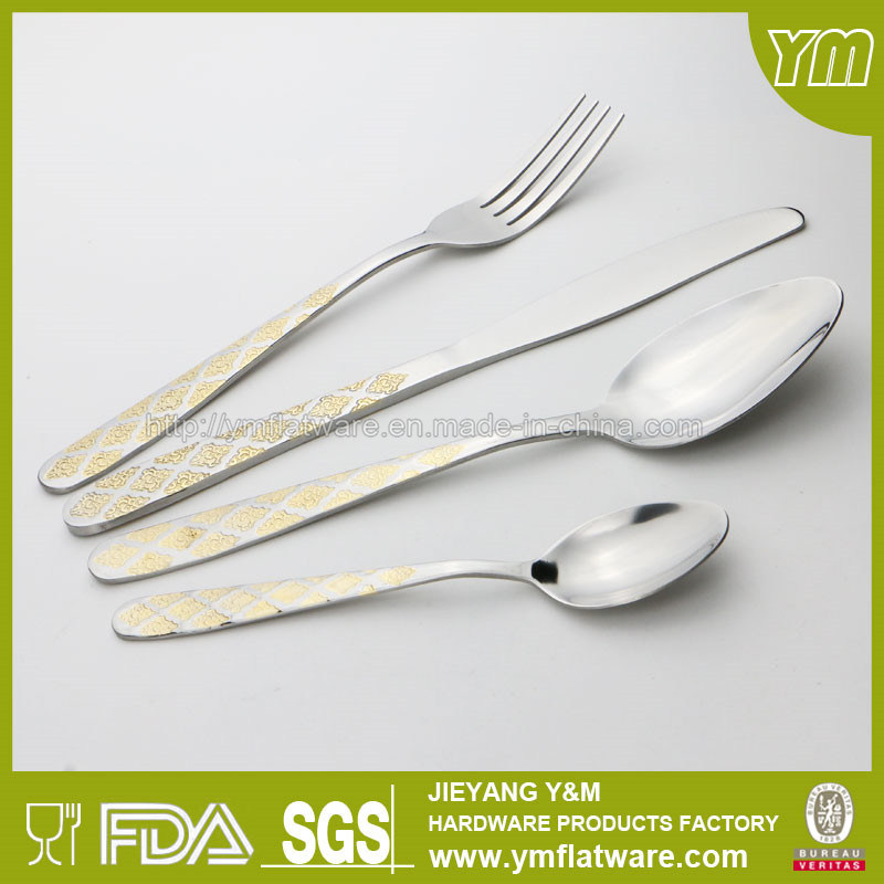 Wedding Gift Stainless Steel Cutlery with Gold Plating