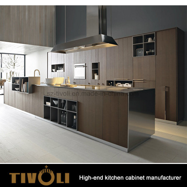 Veneered Laminate Black Kitchen Cabinet Modern design Tivo-0223h