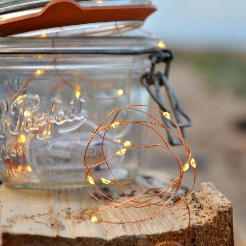Garden Decoration Copper Wire LED Battery Powered Fairy String Light Yellow Mardi Grass Light