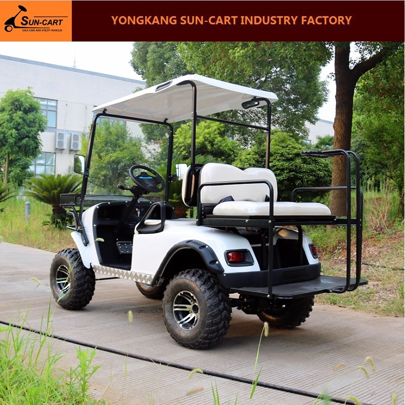 4 Passenger Ce Approved Electric Hunting Golf Cart Rear Back Folding Seats